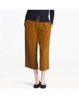 Women Drape Wide-leg Ankle-length Pants