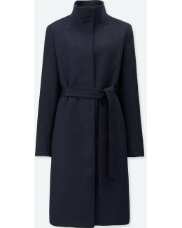 Women Cashmere Blended Stand Collar Coat