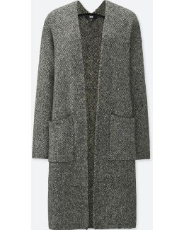 Women Tweed Knitted Long Sleeve Coat
