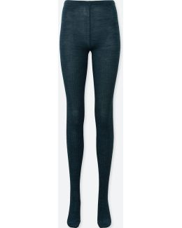 Women Heattech Knitted Ribbed Tights