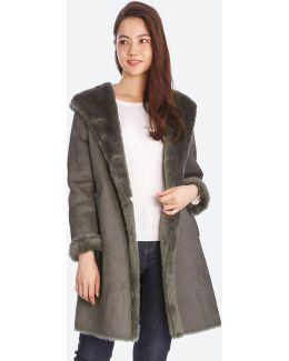 Women Faux Shearling Hooded Coat