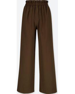 Women High-waist Gathered Wide-leg Pants
