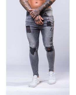 Drop Crotch Paint Splatter Jeans