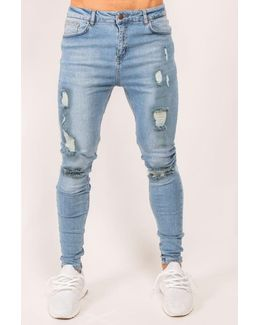 Stoned Ripped Denim Jeans