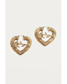 Bamboo Heart Rose Hoop Earrings