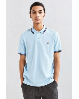 Slim Pique Polo Shirt Twin Tipped In Light Blue