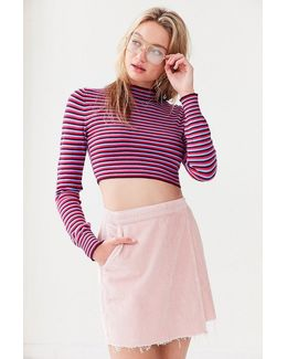 Striped Cropped Turtleneck Sweater