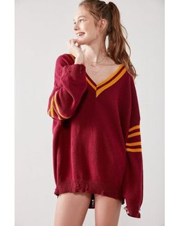Distressed Hockey Pullover Sweater