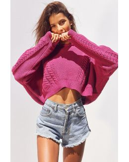 Slouchy High/low Cable Knit Sweater