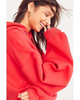 Shirred Sleeve Hoodie Sweatshirt Dress