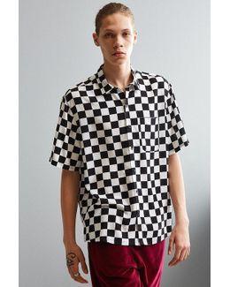 Uo Checker Print Rayon Short Sleeve Button-down Shirt
