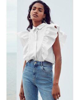 Kelsey Ruffle Button-down Shirt