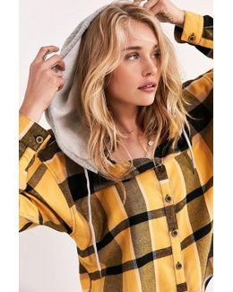 Darcy Hooded Flannel Button-down Top
