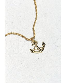 Uo Gold Anchor Pendant Necklace