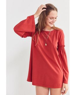 Ruffled Bell-sleeve Tunic Top