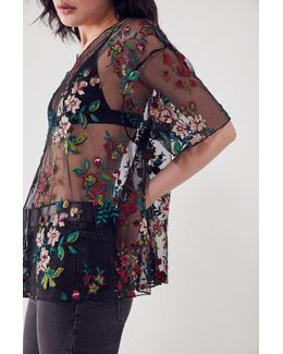 Alana Floral Embroidered Sheer Tee