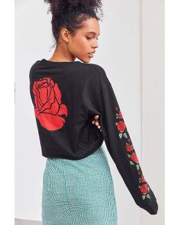 Rose Cropped Long-sleeve Tee