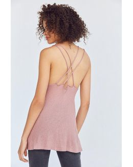 Waffle Knit Strappy Back Tank Top