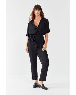 Uo Bezel Print Wrap Belted Jumpsuit