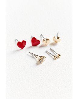 Blaire Heart Post Earring Set
