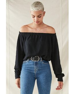 Recycled Off-the-shoulder Cropped Sweater