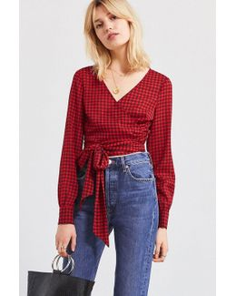 Uo Cropped Gingham Wrap Blouse