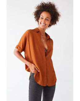Uo Oversized Short Sleeve Button-down Top