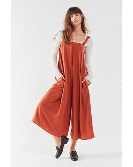 Uo Straight-neck Satin Culotte Jumpsuit