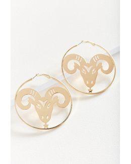 Etched Zodiac Statement Hoop Earring