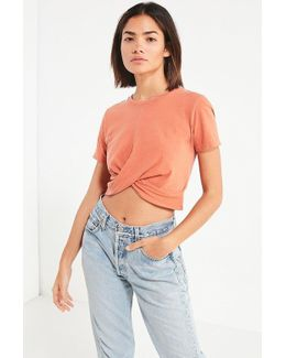 Uo Twist Front Cropped Tee