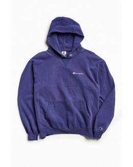Vintage Washed Navy Script Logo Hoodie Sweatshirt