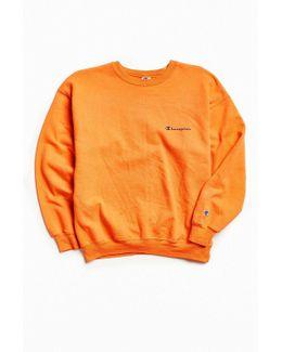 Vintage Coral Orange Script Logo Crew Neck Sweatshirt