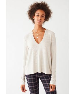 Uo Cozy Notched Long Sleeve Top