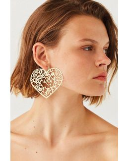 Etched Tattoo Statement Hoop Earring