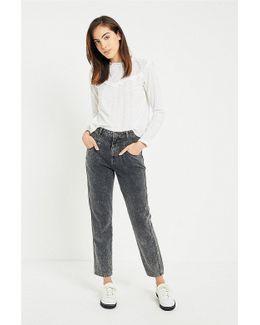 Bdg Mom Black Acid Wash Seamed Jeans