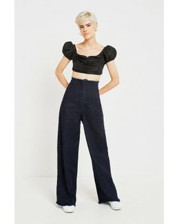 Indigo Corset-waist Wide Leg Jeans
