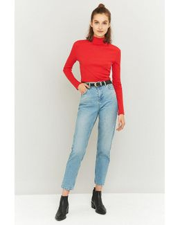 Stone Bleached Blue Mom Jeans