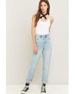 Bleached Indigo Mom Jeans