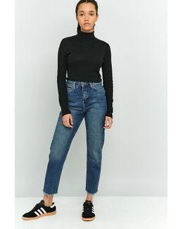 Dark Vintage Wash Raw Hem Mom Jeans