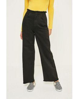 Flood Black Frayed Waist Jeans