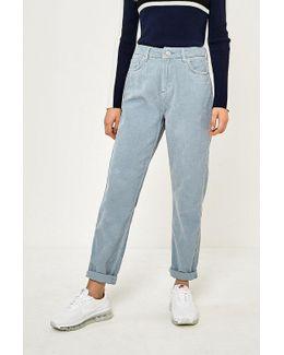 Sky Blue Corduroy Mom Jeans