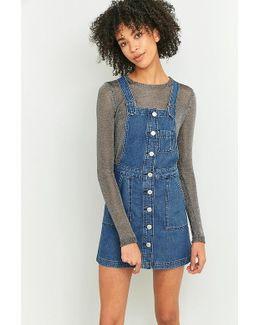 Button-down Blue Denim Pinafore Dress
