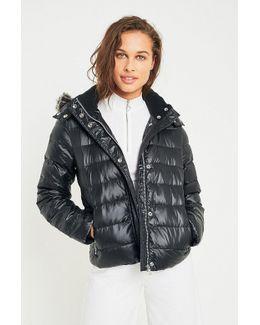 Jeans Faux Fur Hood Puffer Jacket
