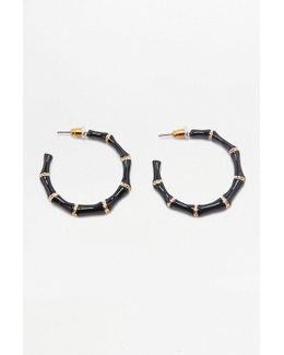Enamel Bamboo Hoop Earrings