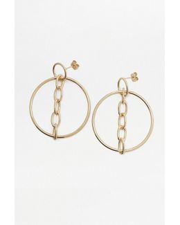 Chain Drop Hoop Earrings
