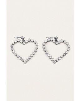 Rhinestone Heart Post Earrings