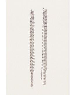 Extreme Length Rhinestone Drop Earrings