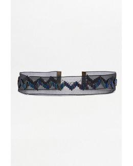 Bugle Beaded Ribbon Choker Necklace