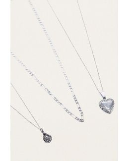 Vintage Heart Layering Necklace 3-pack
