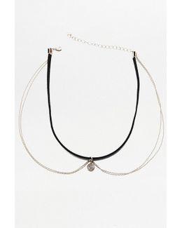 Double Chain Pendant Choker Necklace